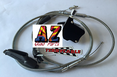 Banshee Steel Braided Terrycable Thumb Throttle Clutch Cable Black Billet 35mm