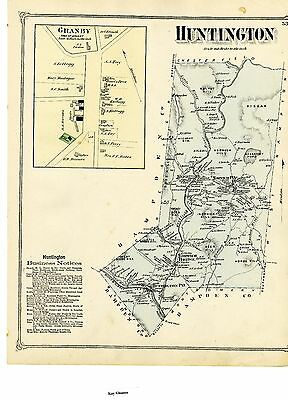 1873 Map of Huntington, Hampshire County, Mass., from Beers Atlas - Original
