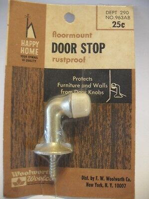 Vintage NOS Satin Brass Plated Floor DOOR STOP Die Cast w White Rubber Bumper