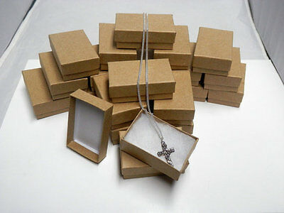Wholesale 25 Small Kraft  Cotton Filled Jewelry Ring Earring Gift Boxes 17/8