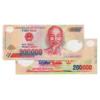 Vietnam 200,000 Dong Currency VND Polymer Banknote UNCIRCULATED UNC