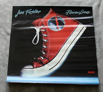 Jim Foster Power Lines 1986 Solo Converse RCA Records PROMO Music Poster VG C6