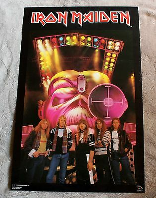 IRON MAIDEN 1987 Ross Halfin Steve Harris EDDIE Group Photo Concert Poster VGEX