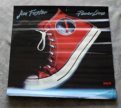 Jim Foster Power Lines 1986 Solo Converse RCA Records PROMO Music Poster GVG C5