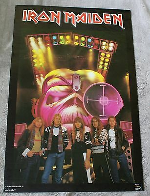 IRON MAIDEN 1987 Ross Halfin Steve Harris EDDIE Group Photo Concert Poster VG C6