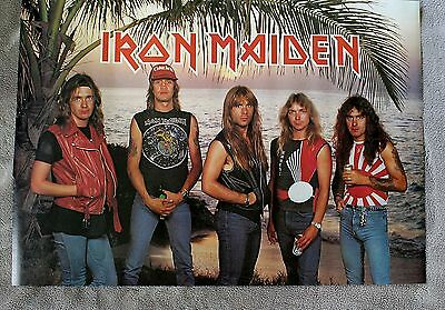 IRON MAIDEN World Piece 1983 Harris Dickinson Group Beach Photo Poster VGEX C7