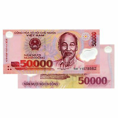 10 x Vietnam 50,000 = 500,000 Dong VND Polymer Banknotes
