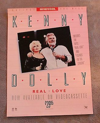 KENNY DOLLY Rogers Partin 1985 Real Love Columbia VHS RCA RARE PROMO Poster GVG