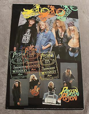 POISON 5 Pix 1990 Bret Michaels Brockum Whiskey Rikki Rockett Poster #7100 VG+