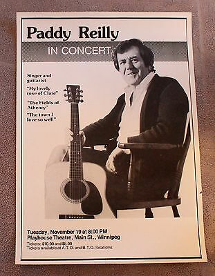 Paddy Reilly in Concert 1980s? Irish Celtic Folk Clare Athenry Promo Poster GVG