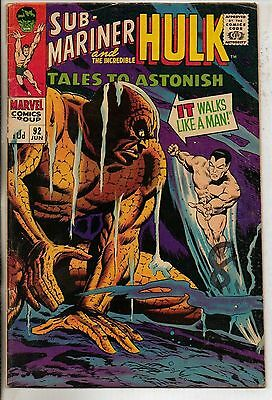 Marvel Comics Tales To Astonish #92 June 1967 Sub Mariner & Hulk G+