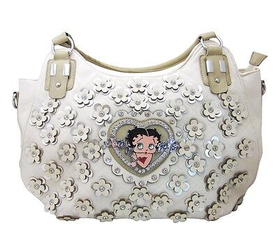 Ladies Betty Boop White Leather Shoulder Bag Purse with Crystal Rhinestones