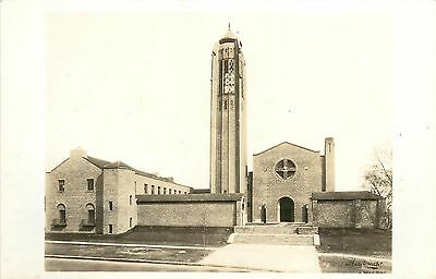 c1931 RPPC Art Deco Bell Tower First-Plymouth Cong Church Lincoln NE Street View
