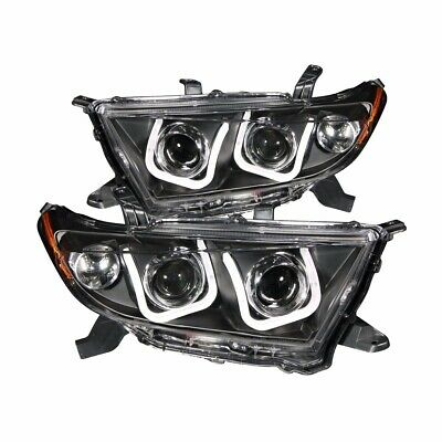 For 2011-2013 Toyota Highlander Projector Headlights U-Bar Style Black Clear