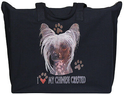 CHINESE CRESTED  Zipper black TOTE BAG I love my Crested 20x15x5