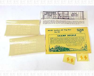 Champ HO Decals Southern Railway Plug Door Boxcar HB-381