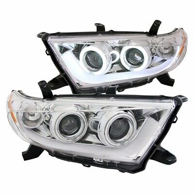 For 2011-2013 Toyota Highlander Projector Headlights Chrome Clear (Ccfl) Pair