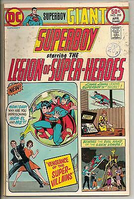 DC Comics Superboy & The Legion Of Super Heroes #208 April 1975 Scarce Giant F
