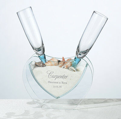 Personalised Coastal Wedding Day Bride Groom Gift Toasting Flutes with Vase
