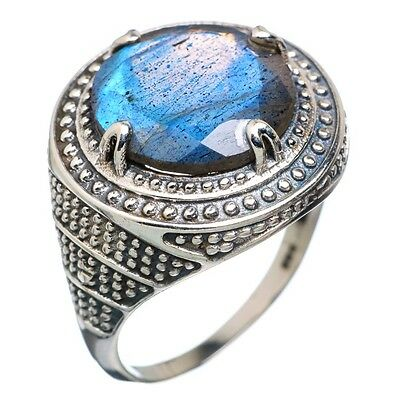 echter LABRADORIT Ring  925 Sterling Silber Gr18,5  TOP