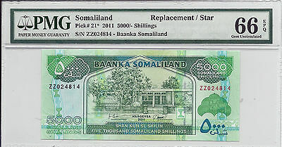 Somaliland P21* 2011 5000 Shillings Replacement/Star PMG 66 EPQ
