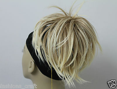 """New Tousled Synthetic Hairpiece Scrunchies Straight Elastic updo Scrunchy BUN 6"""""""