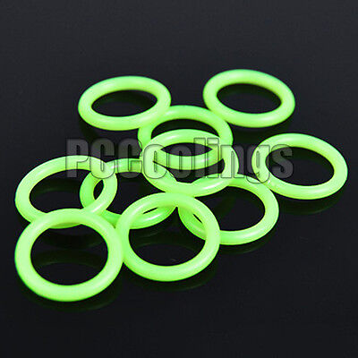 10Pcs Water Cooling UV Reactive O Ring Green 11mm  x 2mm G 1/4 For Barb Fittings