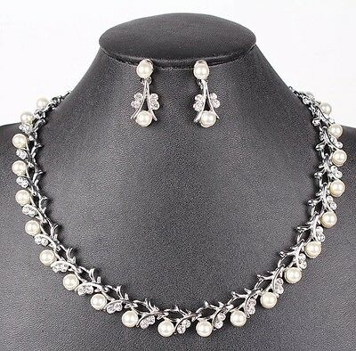 Bridal Wedding Necklace Jewellery Ivory Pearl & Crystal