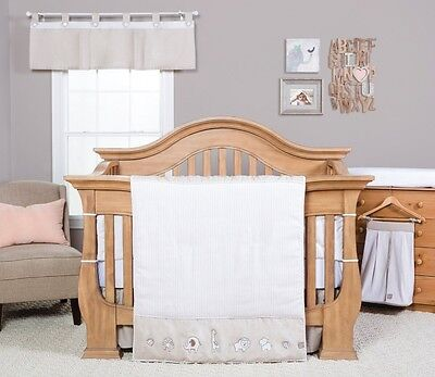 Trend Lab Quinn 3 Piece Crib Bedding Set, Tan/White. Free Delivery
