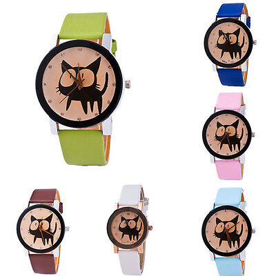 Womens Wristwatch Cat Pattern Round Dial Fashion PU Leather Quartz Watch