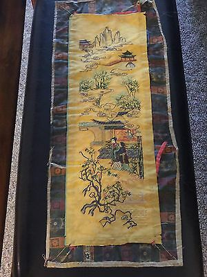 One of a kind Antique Signed Chinese Silk Panel Embroidery