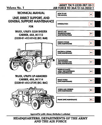 11 500 page m998 army hmmwv hummer humvee repair operator parts rh picclick com army hmmwv operators manual M1165 Technical Manual