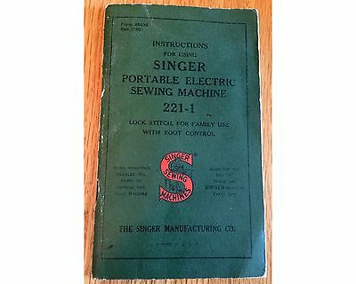 40's Singer Featherweight Sewing Machine Manual 221-1