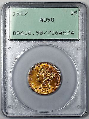 1907 $5 Liberty Half Eagle Gold Coin PCGS AU-58 OGH Rattler- DGH