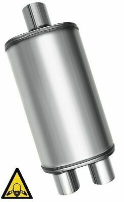 """One universal Oval Exhaust Muffler Center 3"""" inlet to 2.5"""" Dual outlet  20""""long"""