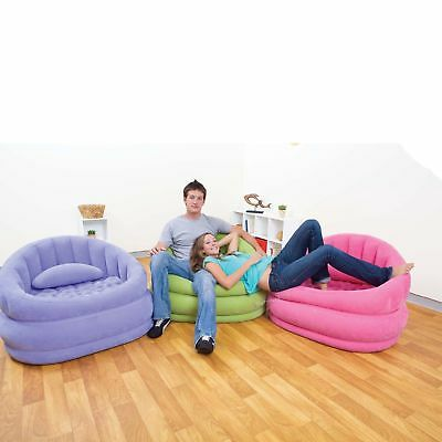 Intex Cafe Chair Inflatable Bean Bag Flocked Fabric Lounge Seat Dorm Chair