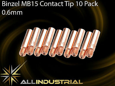 MIG Contact Tip - MB15 24KD - 0.6mm- Binzel Style - M6 x 6mm x 25mm  (10 Pack)