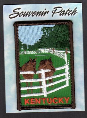 """Kentucky Souvenir Patch  New = on card 2"""" x 3"""" Thoroughbred Horses"""