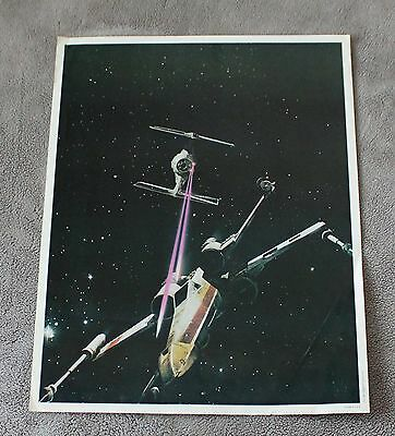 Star Wars Episode IV New Hope 1977 Space X-Wing TIE Fighter Battle Poster VG