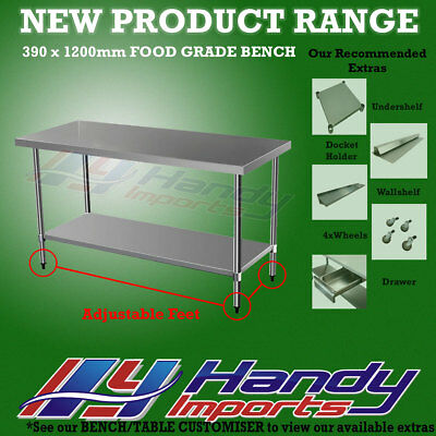 1200 x 390mm STAINLESS STEEL #430 NARROW WORK BENCH KITCHEN FOOD PREP SLIM TABLE