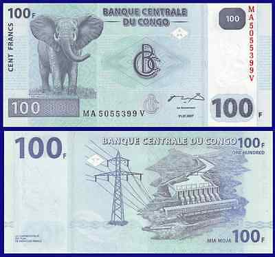 Congo P98, 100 Francs, elephant / hydroelectric dam on Congo river, 2007, UNC