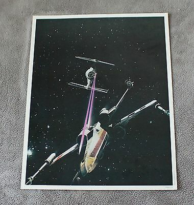 Star Wars Episode IV New Hope 1977 Space X-Wing TIE Fighter Battle Poster EX