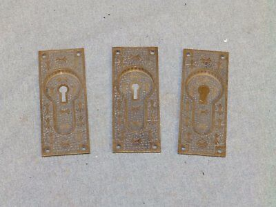 3 Antique Brass Pocket Doorn Pulls Easklake Hardware Old Vintage 791-16