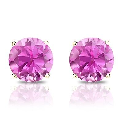 1 Ct Round Pink Earrings Studs Real 14K Yellow Gold Brilliant Screw Back Basket