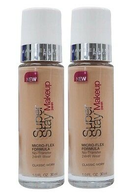 Bulk 2 X Maybelline Superstay 24Hr Foundation #classic Ivory - New!!