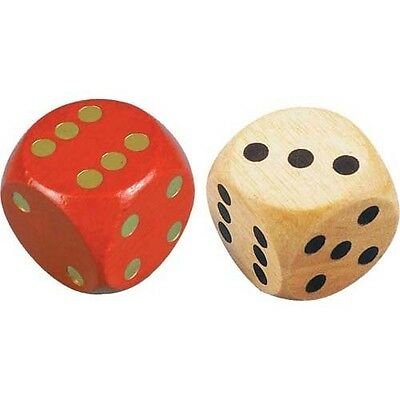 Extra Large Dice Giant Coloured Wooden Die Red Blue Green Natural (1, 4 or 12)