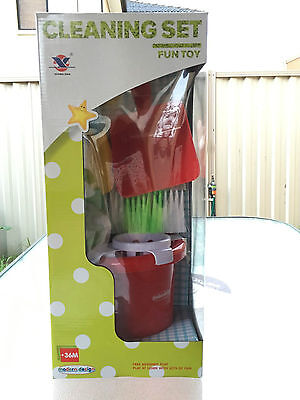 Children's Cleaning Set House Cleaner Fun Gift Kids Pretend Play Toy Broom Mop
