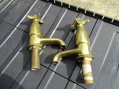 "Antique Brass Taps Sink Bath Basin Hot & Cold ""Sanitor"" Vintage Period Mark Old"