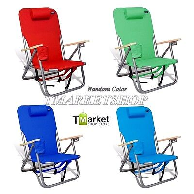 Deluxe Beach Chairs Pillow Durable Backpack Camping Outdoor Folding w Cup holder