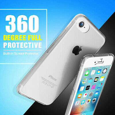 Ultra Slim Rubber Clear 360 Full Shockproof Soft Case Cover Fr iPhone 8 Plus X 7